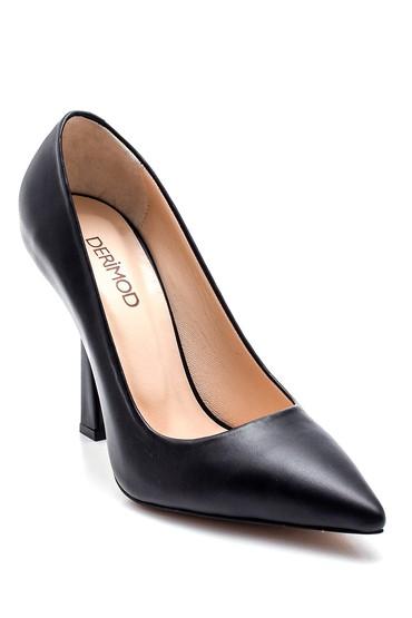 Siyah Kadın Deri Topuklu Ayakkabı 5638281291
