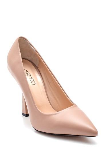 Bej Kadın Deri Topuklu Ayakkabı 5638316291