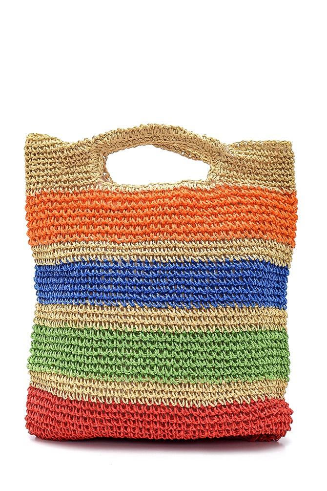 Renkli Desenli Kadın Hasır Kol Çantası 5638265704