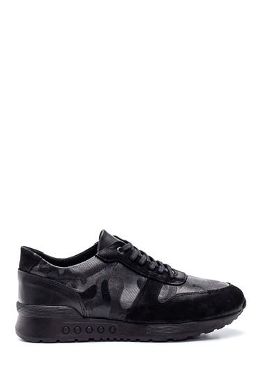 Siyah Erkek Deri Süet Detaylı Sneaker 5638318744