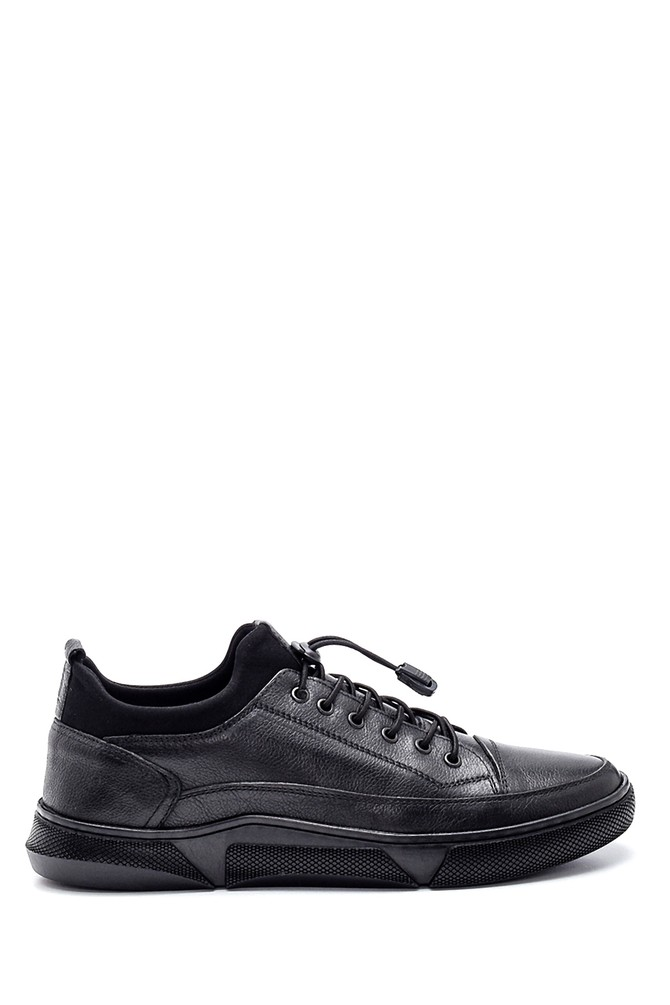 Siyah Erkek Deri Sneaker 5638336786