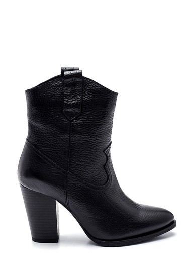 Siyah Kadın Deri Topuklu Bot 5638308701