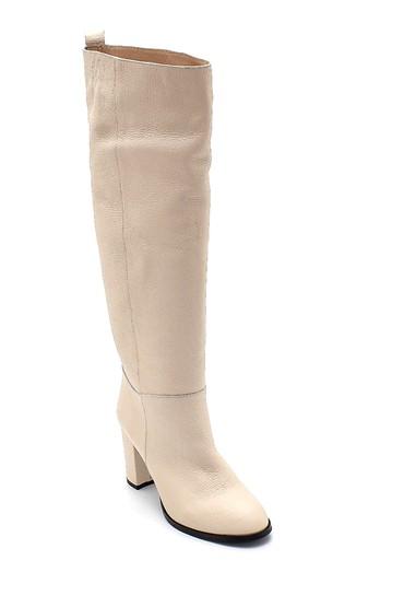 Bej Kadın Deri Topuklu Çizme 5638308736