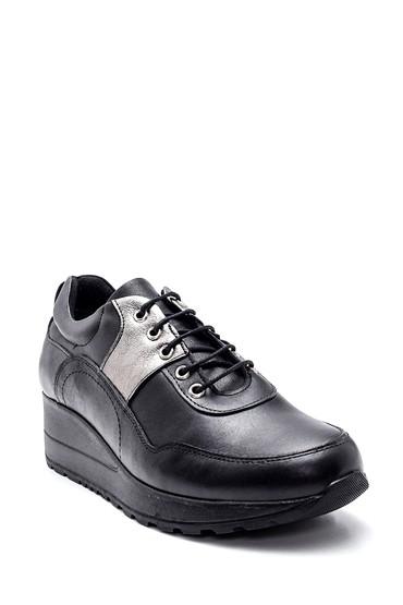 Siyah Kadın Dolgu Topuk Deri Sneaker 5638306191
