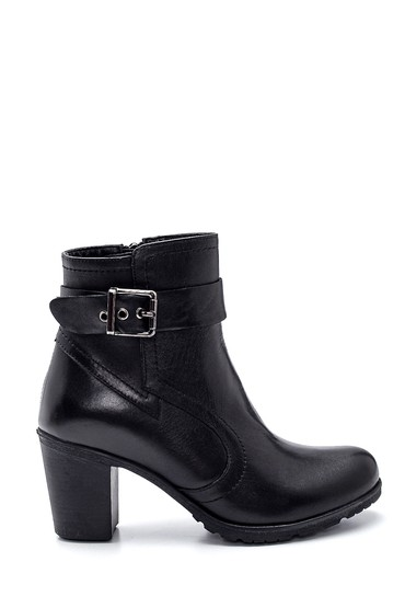 Siyah Kadın Deri Topuklu Bot 5638306309