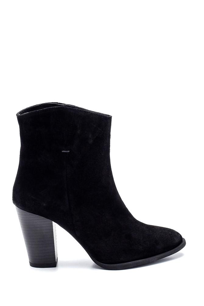 Siyah Kadın Topuklu Süet Deri Bot 5638316264