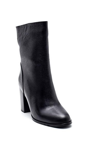 Siyah Kadın Deri Topuklu Bot 5638316301