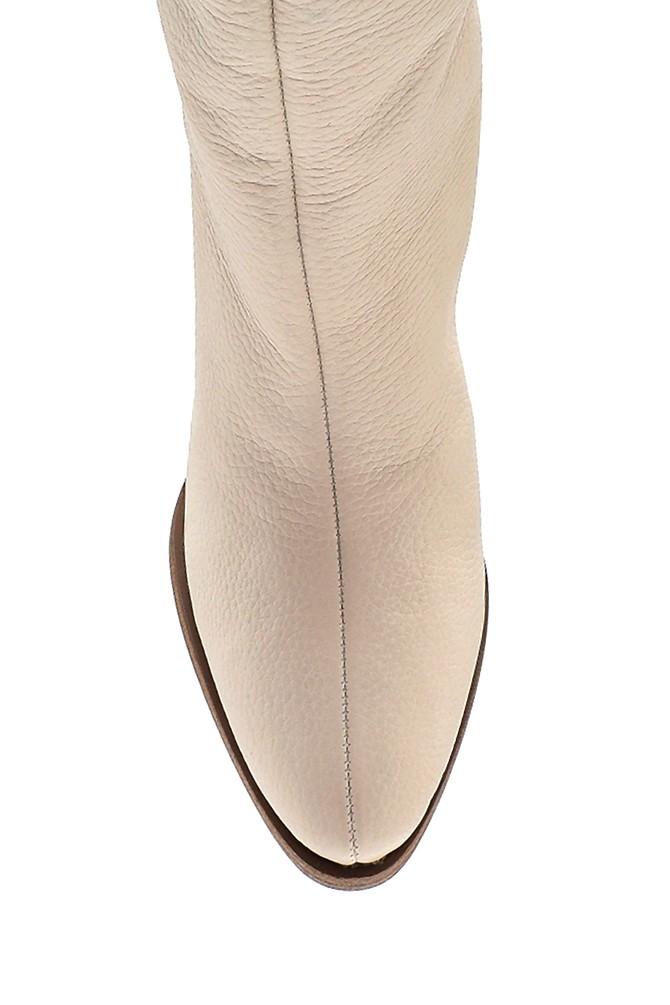 5638316311 Kadın Deri Topuklu Çizme