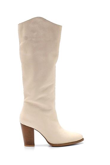 Bej Kadın Deri Topuklu Çizme 5638316311