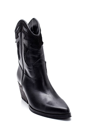 Siyah Kadın Deri Topuklu Kovboy Bot 5638288338