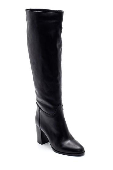 Siyah Kadın Deri Topuklu Çizme 5638308721
