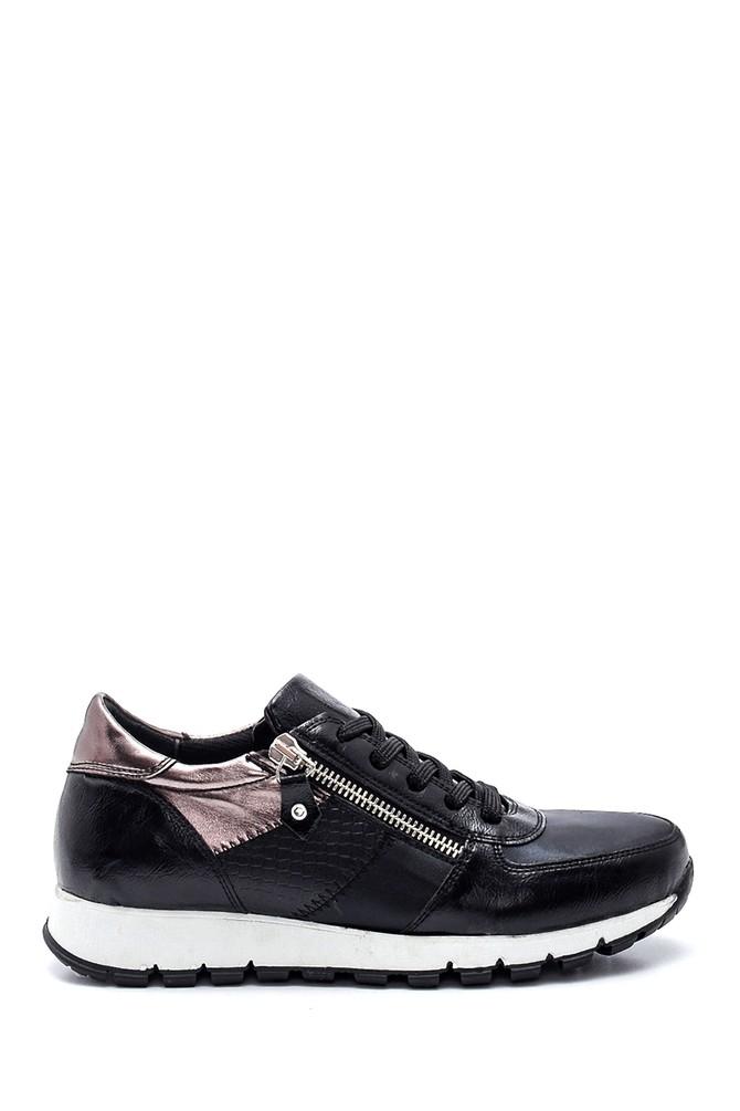 Siyah Kadın Fermuar Detaylı Sneaker 5638328097