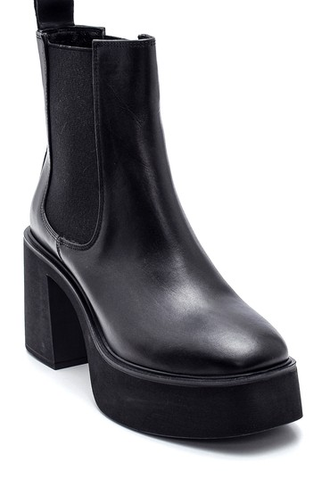 Siyah Kadın Deri Platform Topuklu Bot 5638316253