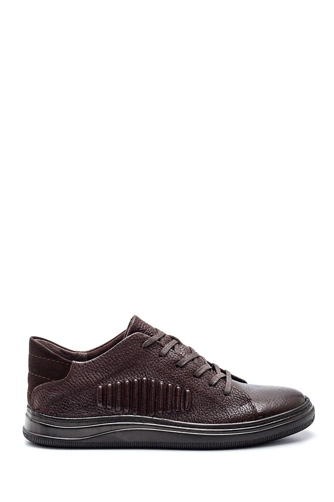 Kahverengi Erkek Çizgi Detaylı Deri Sneaker 5638318887