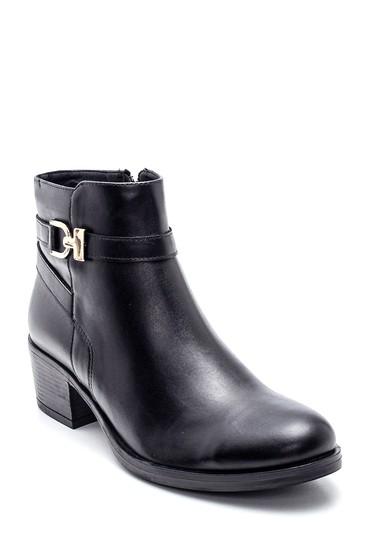 Siyah Kadın Topuklu Deri Bot 5638331681