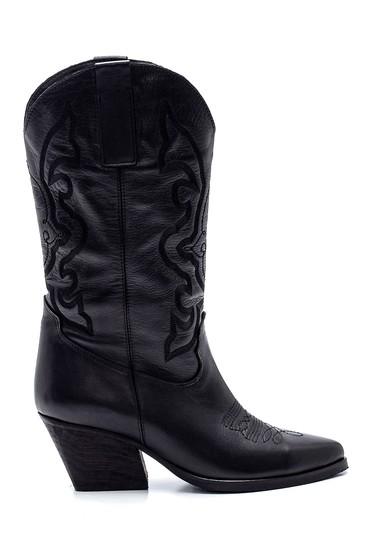 Siyah Kadın Deri Kovboy Topuklu Çizme 5638292138