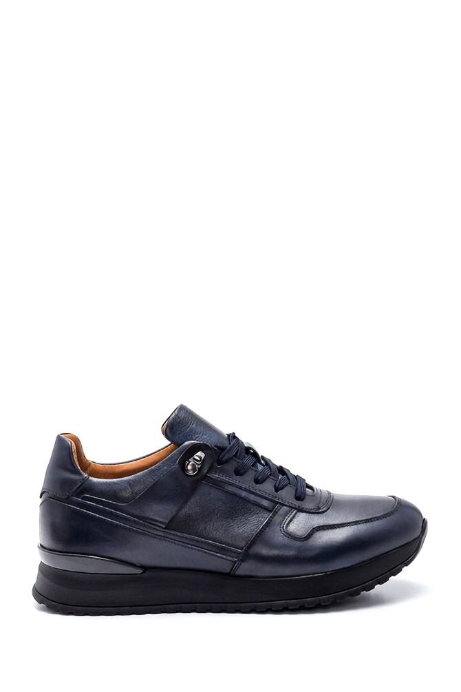 Lacivert Erkek Deri Sneaker 5638317595