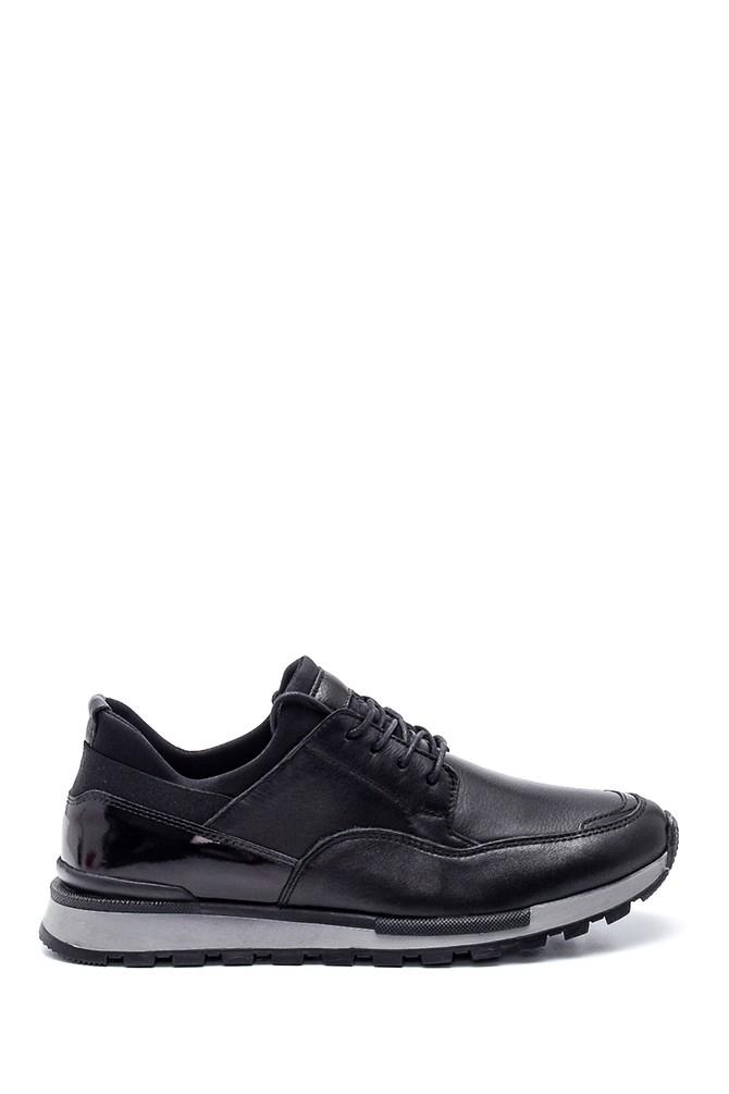 Siyah Erkek Deri Sneaker 5638320943