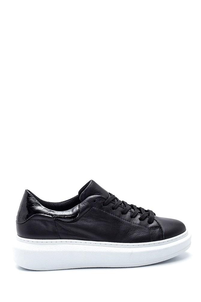 Siyah Kadın Deri Sneaker 5638335772