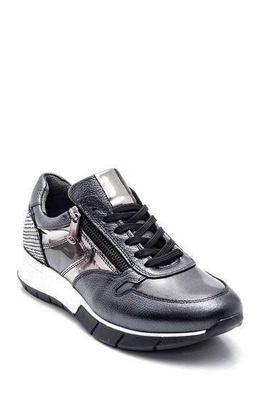 Antrasit Kadın Fermuar Detaylı Deri Sneaker 5638335811