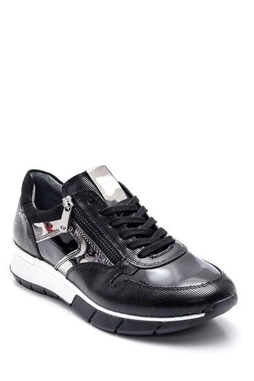 Siyah Kadın Fermuar Detaylı Deri Sneaker 5638336851