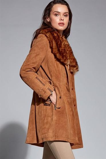 Kahverengi Rhoda Kadın Süet Deri Ceket 5638293701