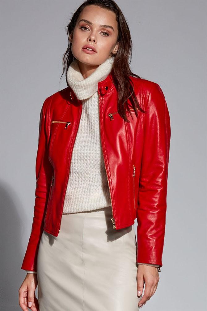 Kırmızı Alexa Kadın Deri Ceket 5638299701