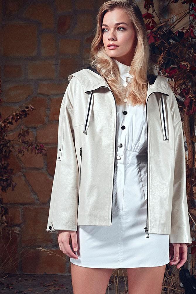Beyaz Jennıfer Kadın Deri Ceket 5638349908