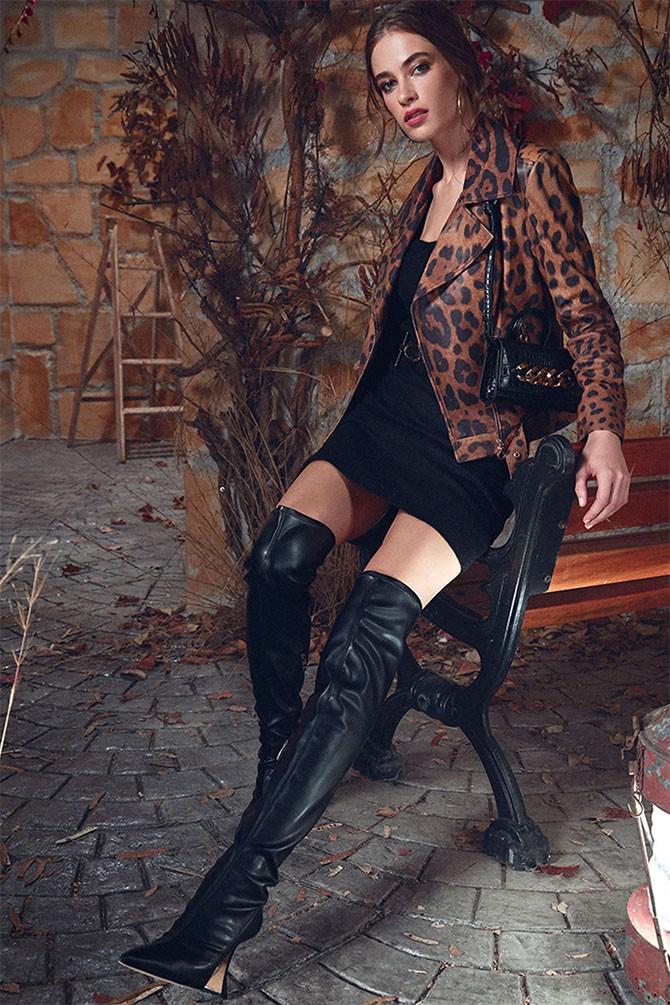 Kahverengi Belaır Kadın Leopar Deri Ceket 5638352272