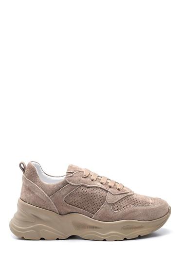 Bej Kadın Deri Süet Sneaker 5638281321