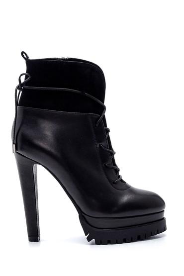 Siyah Kadın Deri Platfrom Topuklu Bot 5638297931
