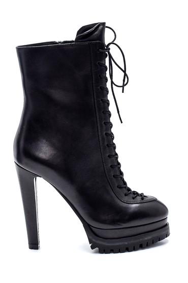 Siyah Kadın Deri Platform Topuklu Bot 5638297941