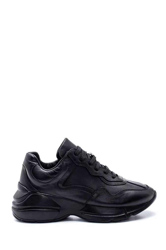 Siyah Kadın Deri Sneaker 5638312327