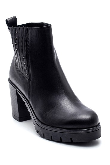 Siyah Kadın Platform Topuklu Deri Bot 5638316369