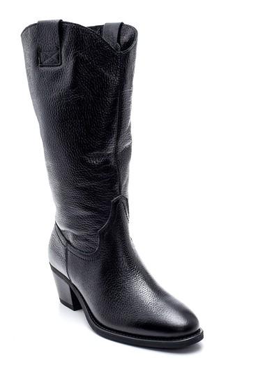 Siyah Kadın Deri Kovboy Topuklu Çizme 5638312477