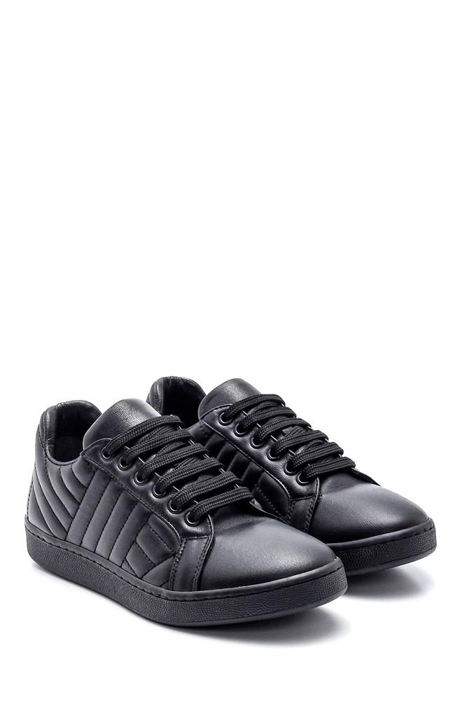 5638344578 Kadın Çizgi Detaylı Deri Sneaker
