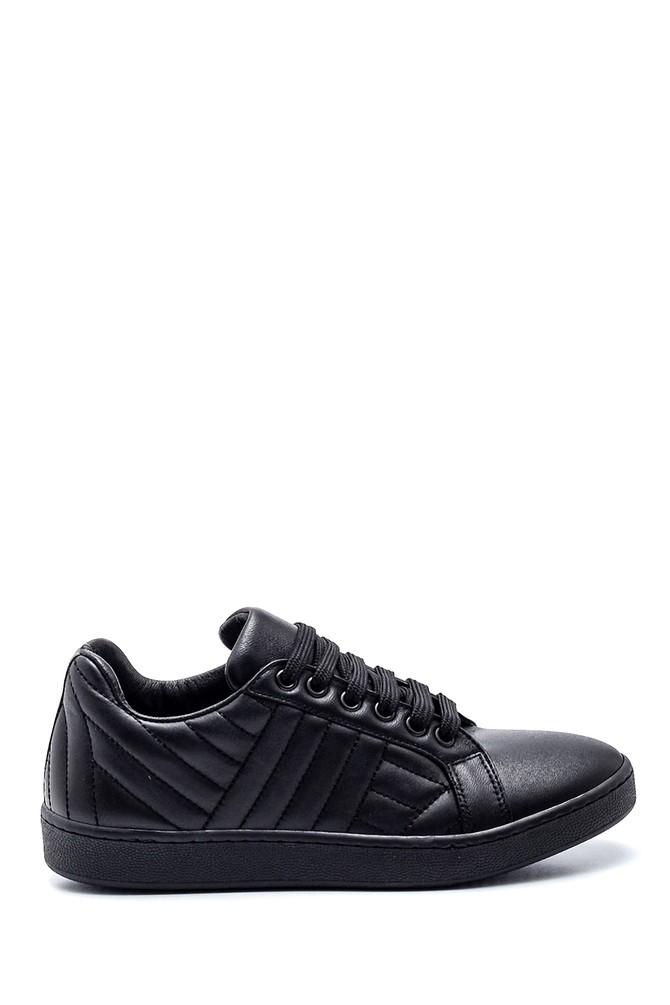 Siyah Kadın Çizgi Detaylı Deri Sneaker 5638344578