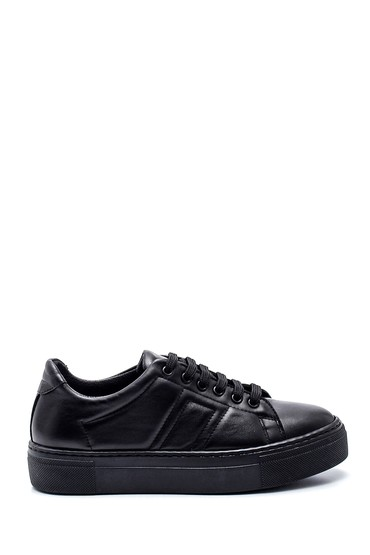 Siyah Kadın Deri Sneaker 5638344601