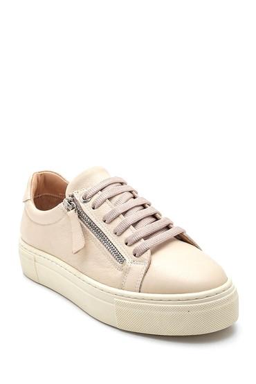 Bej Kadın Fermuarlı Deri Sneaker 5638344636