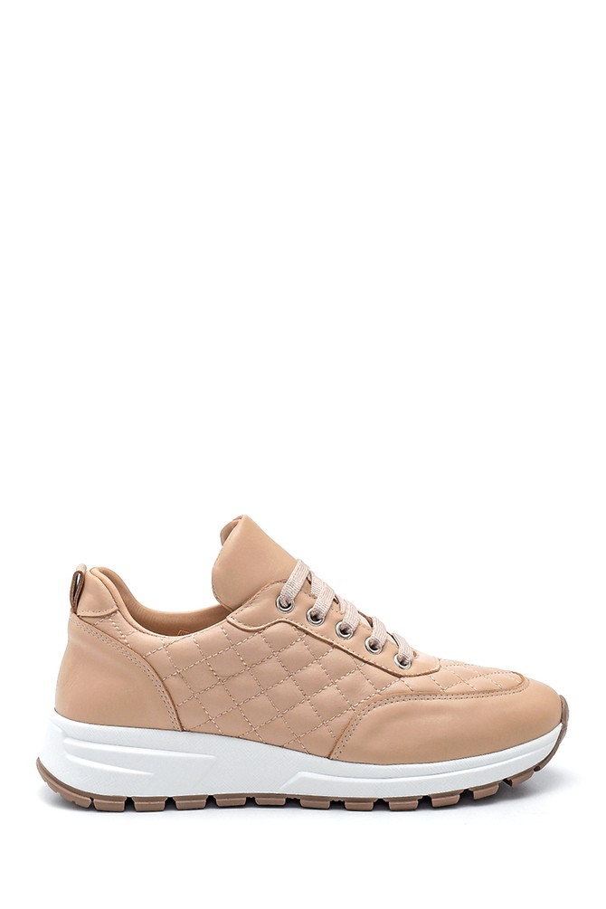 Bej Kadın Deri Kapitone Sneaker 5638344705