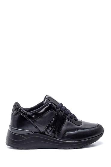 Siyah Kadın Kroko Detaylı Deri Sneaker 5638330394