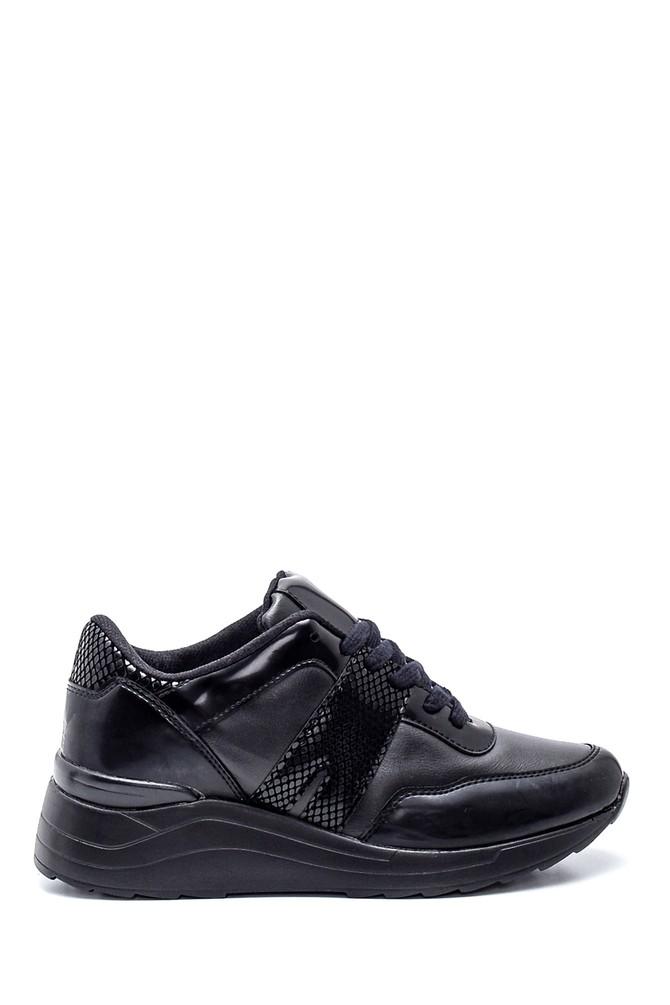 Siyah Kadın Deri Kroko Detaylı Sneaker 5638330394