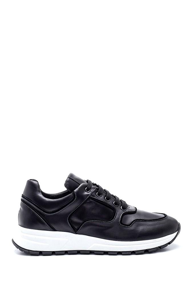 Siyah Kadın Deri Sneaker 5638355506