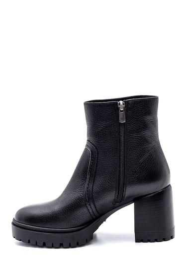 Siyah Kadın Platform Topuklu Deri Bot 5638206117