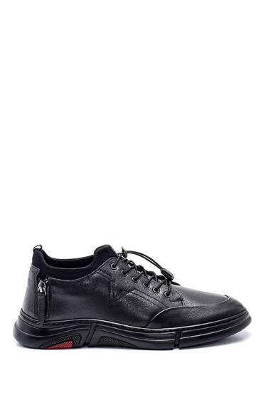 Siyah Erkek Fermuar Detaylı Deri Sneaker 5638336764