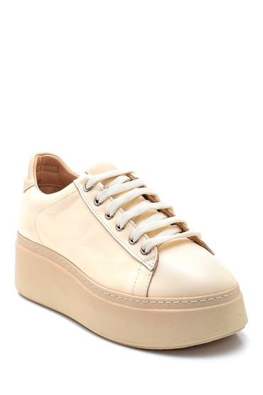 Bej Kadın Platform Deri Sneaker 5638344618