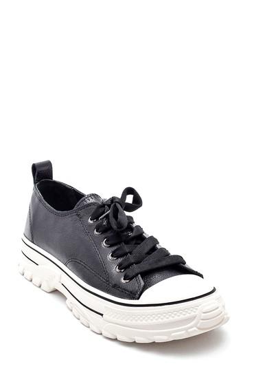 Siyah Kadın Deri Sneaker 5638287132