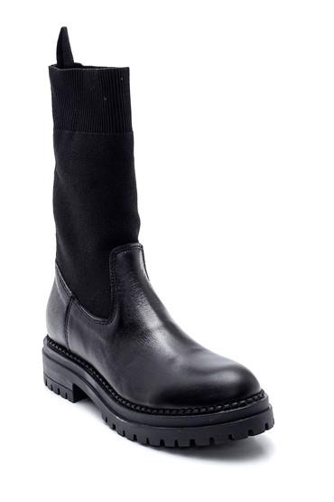 Siyah Kadın Çorap Deri Bot 5638288376