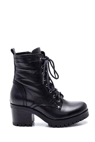 Siyah Kadın Deri Topuklu Postal Bot 5638292185