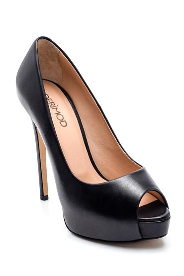 Siyah Kadın Klasik Deri Stiletto 5638297881